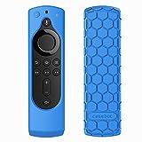 CASEBOT Hülle Fire TV Stick 4K / 4K Ultra HD Alexa-Sprachfernbedienung mit Tasten für An/Aus und Lautstärke - Leichte Rutschfeste Stoßfeste Silikon Schutzhülle, (Blau)