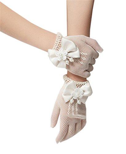 Lymanchi Baby Blumen Mädchen Hochzeit Fischnetz Handschuhe Bogen Kommunion Beige One Size