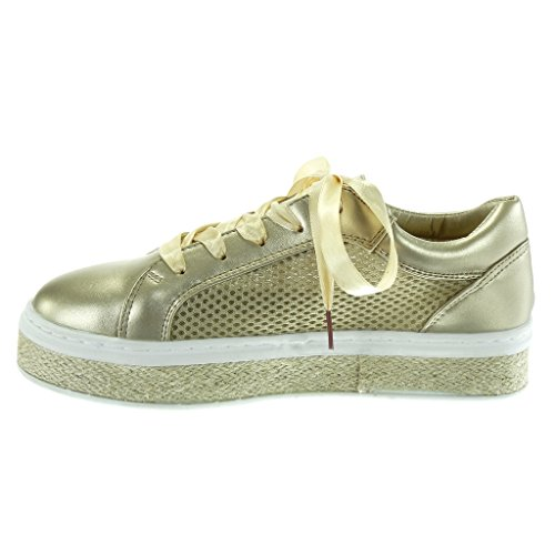... Angkorly - Scarpe da Moda Sneaker Espadrillas Tennis zeppe donna Lacci  in raso perforato corda Tacco ...