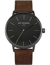 Ben Sherman Herren-Quarzuhr mit schwarzem Zifferblatt Analog-Anzeige und braun Stoff Gurt wb009tb