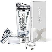 PROMiXX 2.0 Elektrische Shakerflasche aus Edelstahl | Wiederaufladbarer, tragbarer Vortex-Mixer | Mit integriertem Proteinbehälter und Micro-USB-Kabel 600ml / 20oz