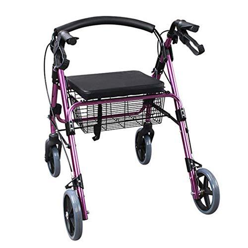 SXFYGYQ Walking Frame Height Adjustable Multifunction Falten Leichtgewichten-Aluminium-Rollator mit gepolstertem Seat und Untersitz-Korb