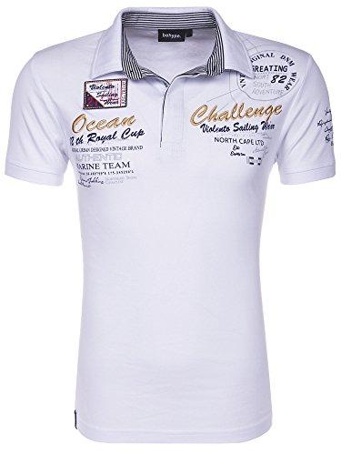 Behype Herren Polo-Shirt Challenge Kurzarm T-Shirt 20-2728 Weiß