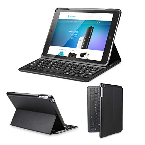 TECKNET Clavier Étui et Bluetooth AZERTY Français pour iPad Air 2 Étui de Protection Clavier sans Fil iSmart avec Fonction Réveil/Sommeil Automatique -Noir