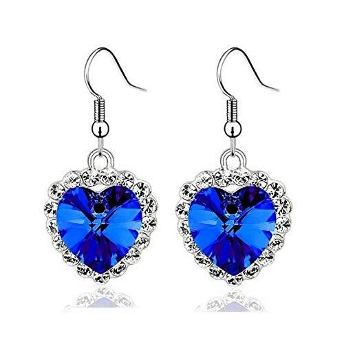 Matbc orecchini di gioielli in argento 100% 925 orecchini a pendente cuore romantico in cristallo austriaco blu per le donne