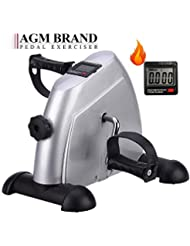 AGM Mini Exercise Bike, Under Desk Leg Pedal Exerciser Portable, Adjustable Resistance with LCD Display for Sitting Down, Unisex and Elderly …