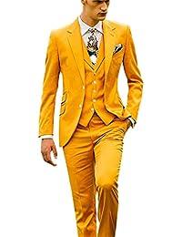 YZHEN Hommes Notel Revers Suits Deux Boutons Veste Veste Pantalon Ensembles 8632bcf3a28