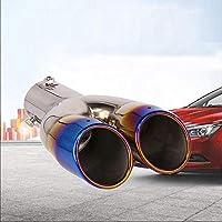 Tuyau d'échappement garniture en acier inoxydable embout de silencieux queue universel double sorties tuyau 62mm diamètre bleu