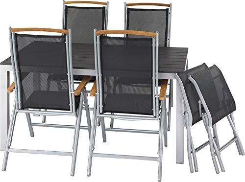 ib style®Polywood Gartengarnitur   Tisch+ 4X Klappstuhl Diplomat + 2X Fußbank  pflegeleicht und witterungsbeständig   Tisch: 150x90cm - Polywood Klappstuhl
