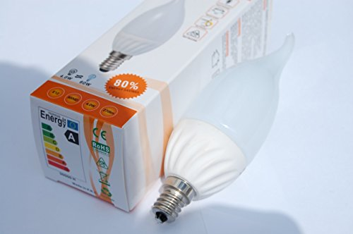 Superled illuminazione 4W SMD LED fiamma punta lampadario lampadina E12candelabro 120V bianco freddo 6400K