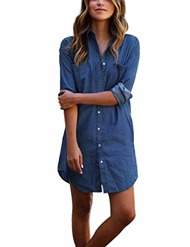 Qijitech longest Elegante Camicia lunga Moda Deep Bluse jeans abito donna Da A Possibilità Casual (m, blu)