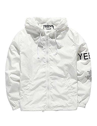 Windjacke Herren/Damen Windbreaker Kapuzenjacke Streetwear Unisex Outerwear Wasserdicht Jacke Springswear , L , Weiß
