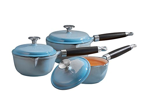 Cooks Professional Deluxe Cast Iron Cookware Complete 3 Piece Cooking Set. (Blue)