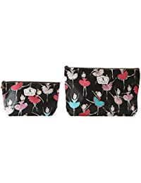 Lot de 2 pochettes ( tailles différentes) Fleuries Tissu Plastifié solide durable et imperméable