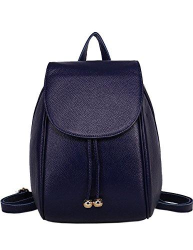 MENSCHEWEAR Damen Rucksack handtasche Echtes Büffel Leder Rucksack Koreanische Adrette Art Schulmädchen Backpack Kaffee Blau