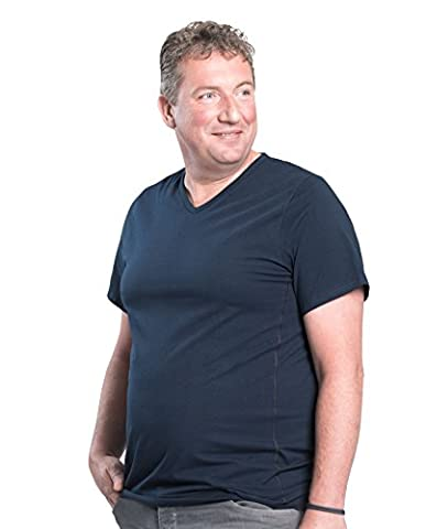 Lot de 2 T-shirts Alca Classic , Encolure en V, Tailles XL-B - 8XL-B Des Tshirts spécialement conçus pour les hommes avec une taille « 112 - 178 cm » de ventre en plus (5XL-B, Blue)