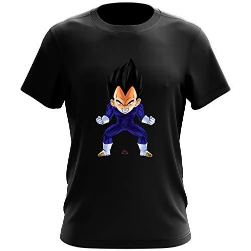 Okiwoki T-Shirt Noir Dragon Ball Z - DBZ parodique Végéta : Super Caca Vol.2 (Parodie Dragon Ball Z - DBZ)