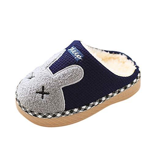 Winter Hausschuhe/Dorical Mädchen Jungen Weiche Plüsch Pantoffeln Wärme Baumwoll Cartoon Hausschuhe Leicht rutschfeste Slippers für Kinder Baby(Z01-Dunkelblau,20 CN)