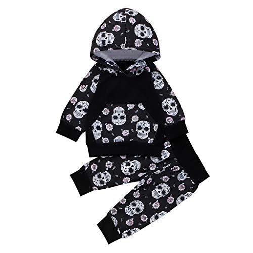 Oyedens (0-24M) Coole Halloween Kostüm, Kleinkind Kinder Baby Jungen Mädchen Kleidung Outfit Langarm Kapuze Schädel Druck Pullover Tops + Hosen - Kinder Schwarz Im Unsichtbaren Kostüm