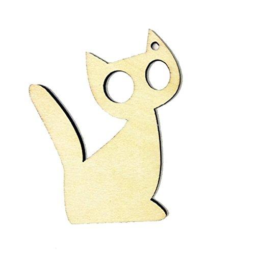 Geschenk Anhänger Hölzerne Geschenk Tags Kitten Katze Form Craft Aufhänger für Hochzeiten Wein Dekor Halloween ()