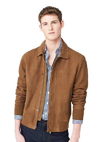 MANGO MAN - Wildlederjacke mit Lederjacken pattentasche - Size:L - Color:Khaki