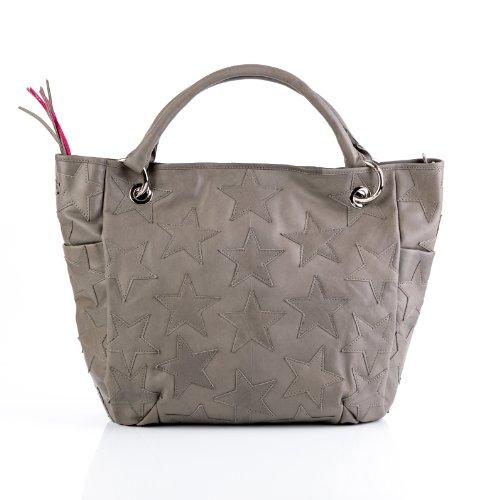 FEYNSINN Schultertasche WILLOW - Handtasche groß - Damentasche echt Leder grau
