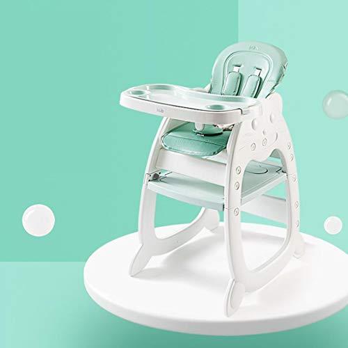 HuaHua Furniture Hochstuhl, 3-in-1-Baby-Multifunktions-Kunststoff-HighChair Compact Säuglingsernährung Sitz Stuhl & Tisch für Kleinkinder Lernen High Seat && Komfortable PU-Kissen (Color : Green)