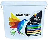 RyFo Colors Kratzputz 1mm 25kg - Fassadenputz, Oberputz, Edelputz, Strukturputz, Fertigputz weiß für innen und außen, witterungsbeständig, weitere Körnungen und Optiken wählbar
