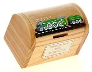 Steam train money box for kids novelty wooden piggy bank for Secret piggy bank
