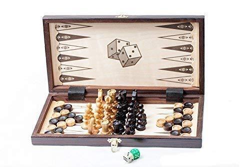 Prime Chess 14' 3 en 1 - Cherry Madera Ajedrez Backgammon Set