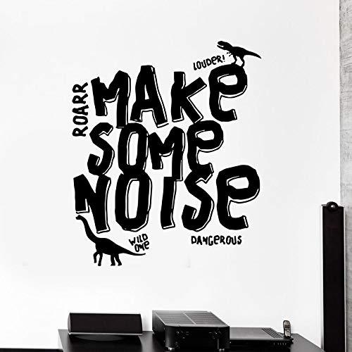 Etiqueta de vinilo Etiqueta de La Pared Dinosaurio Reptil Monster Palabra Inscripción Frase Moda Hogar Sala de estar Decoración de la habitación de los niños Café 57x65 cm