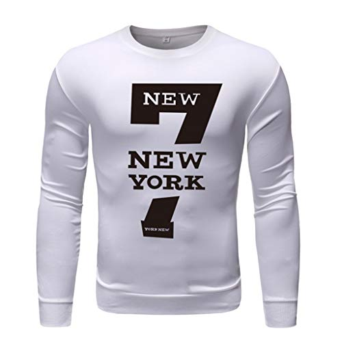 Xmiral T-Shirt Hemd Buchstabe Gedruckte Langärmlig Rundkragen Tops Einfach Oberteile Herbst Bodenbildung Wild Pullover Sweathshirt(g Weiß,M)