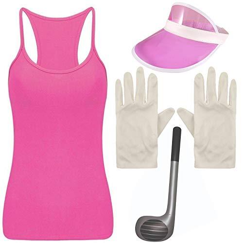 Mädchen Kostüm Golfer - Angies Fashion Damen Mädchen Golfer Golf Poker Kostüm Weste, Visier, Club und Handschuhe Gr. 12, rose