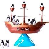 JEJA Jeu d'équilibre de Pingouin de Bateau de Pirate pour la Famille d'enfants Kids
