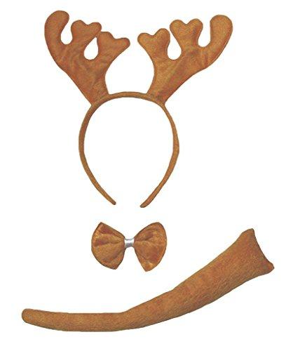 Kostüm Schwanz Deer - Petitebelle Stirnband Bowtie Schwanz Kostüm für Erwachsene Einheitsgröße Deer Braun