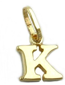 Unbespielt Goldanhänger Unisex Kettenanhänger Anhänger für Halskette Buchstabe K aus 375 9 kt Gold 8 x 7 mm inkl...