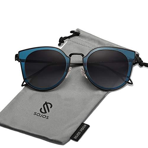SOJOS Schick Klassische Retro Rund UV Schützen Polarisiert Sonnenbrille für Damen und Herren SJ1057 mit Schwarz Rahmen/Grau Linse mit Softe Packung