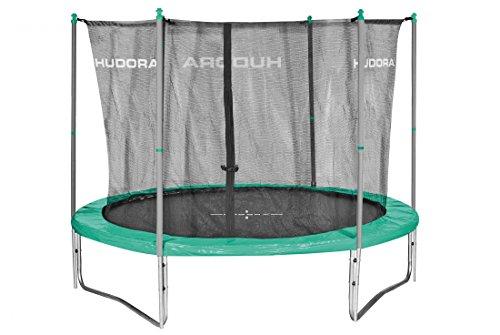 HUDORA Fitness Trampolin/Gartentrampolin, mit Sicherheitsnetz, grün/grau, 300 cm, 65362