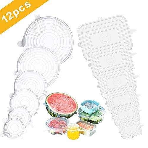 Fappen coperchio silicone, coperchi in silicone estensibile 12 pezzi, riutilizzabile e duraturo per alimenti, coperchio per alimenti freschi - per ciotole, tazze - bpa free (rotondo + quadrato)