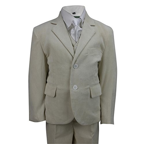 Jungen Stück Anzug 3 (Kids Vintage Cord 3Stück Anzug in Creme Schwarz Beige, Page Boy, Hochzeit, Party alter 2–12Jahre, Beige)
