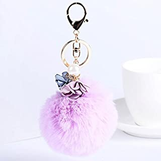 Artistic9(TM) Womens Key Ring Fur Ball Plush Cell Phone Car Handbag Pendant Keychain (Flower, Purple)