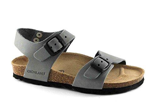 Grünland LÉGER SB0205 27/30 sandales enfant pierre Birk de boucles en cuir gris Grigio