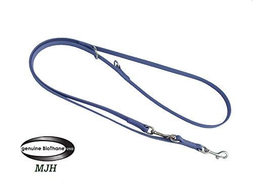 MJH Führleine BETA-BioThane 3-fach verstellbar 2m/9mm grau für Hunde bis ca. 12kg