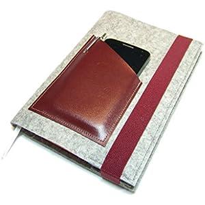 Kalenderhülle Hülle Einband Wollfilz Filz Leder für Din A5 Buchkalender, Notizbuch