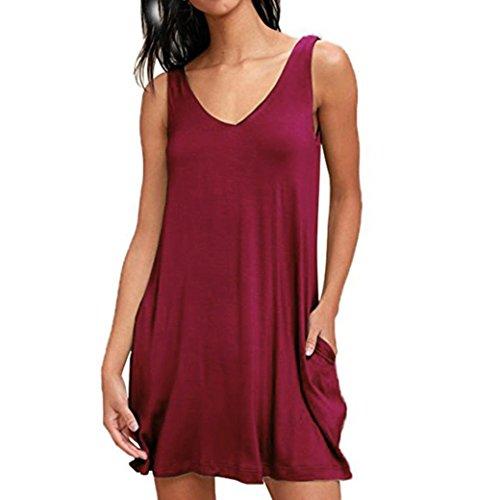 Kobay Damen Ärmellos Taschen Lässige Swing T-Shirt Kleider Sommer Solides Minikleid(X-Large,Weinrot)