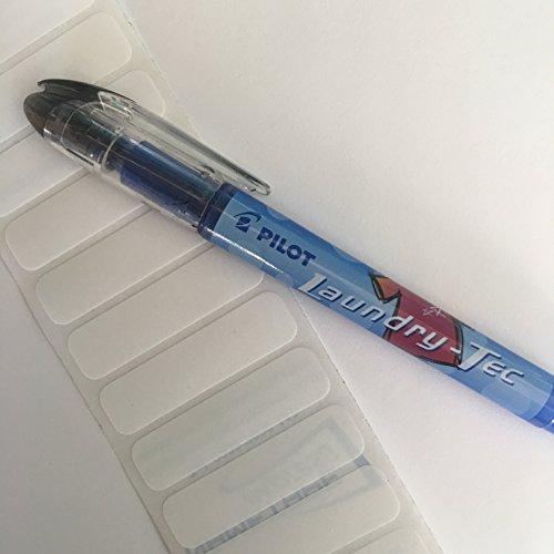 Namensschilder für Wäsche, dasSet beinhaltet einen Pilot Stoff-Marker und weiße Etiketten zum Aufbügeln,Ideal für Schule, Uniformen, Pflegeheime usw. 25 Labels and Pilot Pen