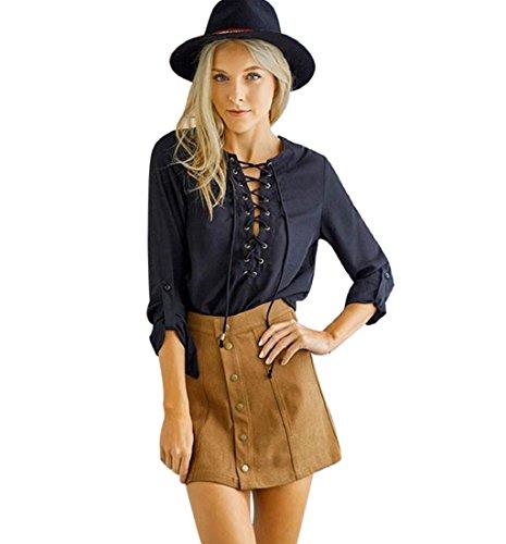 Rcool Damen Rock dünne nahtlose Stretch enge kurze Kleid Braun (M) (Stretch-reiten-jean)