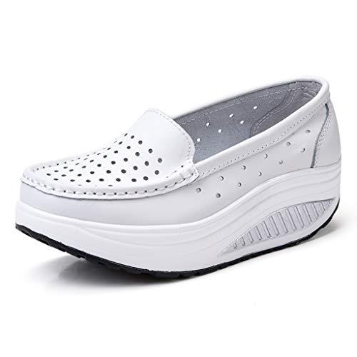 Mujer Zapatillas De Deporte Cuña Zapatos para Correr Plataforma Sneakers con Cordones Calzado De Malla...