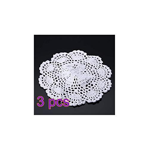 Go_believe 3 Stück Tischsets Spitze Baumwolle Stoff Häkelteppich Rund Deko Tisch Küche Küche - 20 cm weiß -