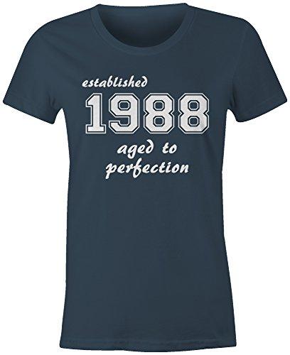Established 1988 aged to perfection ★ Rundhals-T-Shirt Frauen-Damen ★ hochwertig bedruckt mit lustigem Spruch ★ Die perfekte Geschenk-Idee (03) dunkelblau